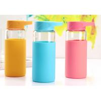 Best 370ML Break Proof Borosilicate Glass Water Bottle With Silicone Sleeve , Multi Colors Available wholesale