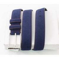 Best Navy Embossed Suede Leather Belt Customized Logo Stamped With Pin Buckle wholesale