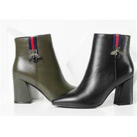 Best Plain Upper Ankle Length Boots Black Leather Heeled Ankle Boots With Side Zipper wholesale
