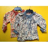 Best Rust Circles Colorful Girls Long Sleeve Top , Children Girls Clothes Frills Cuff Neck wholesale