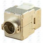Best CL-KJ-C6A02 Shielded Golden plated RJ45 Horizontal FTP Cat6A 180 Degree Keystone Jack wholesale