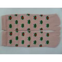 Best Breathable, Comfy Cotton Pink / Yellow / Brown Split Toe Socks With Cute Frog Pattern wholesale