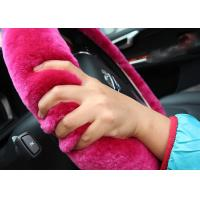 Cheap Cute Girly Car Steering Wheel Covers , Winter Real Fur Steering Wheel Cover  for sale
