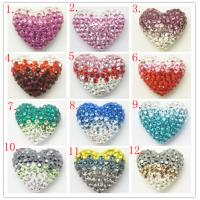 Best Colorful Shamballa Heart Shape Crystal Pave Beads Handmade Jewellery With Clay / Crystal wholesale