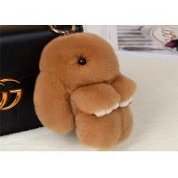 Best Dyed Brown Rabbit Fur Keychain 18cm Size PP Catton Fillings Used For Bag wholesale