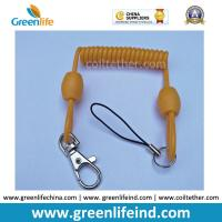 Best New Arrival Earthy Yellow Plastic Spring Coil Key Coil w/Thumb Trigger and Short String Loop wholesale