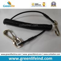 Best Solid Black Strong Plastic PU Elastic Coil Tool Lanyard Tether wholesale