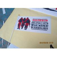 Best Custom Advertising Flag Banners , Hand Held Double Sided Flag With Plastic Pole wholesale