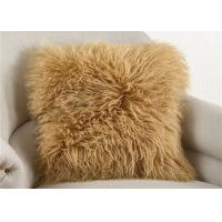 Best Dyed Brown Long Wool Mongolian Fur Pillow 20 Inch Square For Sleeping OEM wholesale