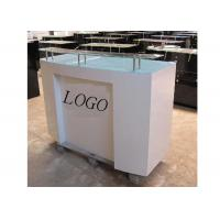 Best HDF Baking Glossy White Retail Checkout Counter Floor Standing With Printed Logo wholesale