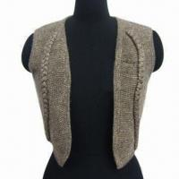 China Ladies' Short Cardigan Vest, Made of 55% Poly and 45% Wool on sale