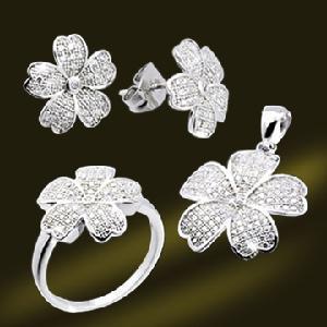 Best 925 Micro Setting CZ Five Petals Flower Jewelry Earring Ring Pendant Set (RSA5397) wholesale