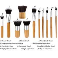 Best 11 Pieces Bamboo Makeup Brushes With Handle , Ecotools Foundation Brush wholesale