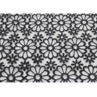 Best Black Embroidered Lace Fabric Floral Lace Organza Polyester Fabric For Dresses wholesale