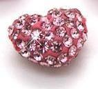 Cheap Colorful Shamballa Heart Shape Crystal Pave Beads Handmade Jewellery With Clay / Crystal for sale