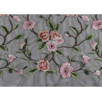 Best Gray Polyester Flower 3D Embroidered Lace Fabric By The Yard For Lady Dress wholesale