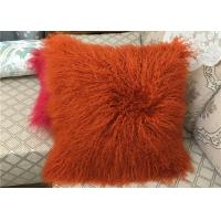 "Best Long wool Pillow 18"" x 18"" Tibetan Lamb Fur Pillow Single Sided Fur Frosted Black wholesale"