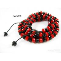 Best Handmade  Red Crystal Stone Beaded Shamballa Necklace, Charm Necklaces wholesale