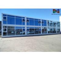 China Painting Roof Panel Office Container House With Double - Glazing Glass Curtain on sale