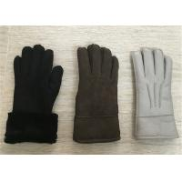 Best Luxurious Warmest Sheepskin Gloves / Black Leather Women's Sheepskin Mittens wholesale