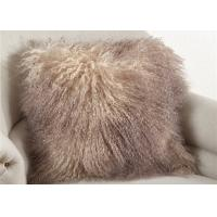 Cheap 20 Inch Square White Fuzzy Pillow Cover , Soft Mongolian Fur Lumbar Pillow  for sale