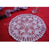Best Leaves Pattern Hollow Out Crochet Floor Rug , Round White Knitted Doilies wholesale