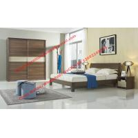 Best Wood & Panel furniture in modern deisgn Walnut color by KD bed with Sliding door wardrobe wholesale