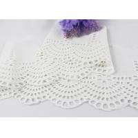 Best White Floral Scalloped Embroidered Lace Trim , Venice Eyelet Bridal Lace Ribbon wholesale
