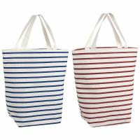 Best Resuable Blue Red Stripes 100% Cotton Shopping Bags With Logo PVC Liner wholesale