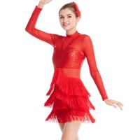 Cheap Long Sleeves Stunning Tap Costume Rows Fringes Mock Neck Dance Dress Performance Wear for sale