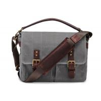 Best Outdoor Canvas Crossbody Messenger Bag Grey , Casual Messenger Bags With Pockets wholesale