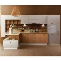 Quality Painting White Solid Wood Kitchen Cabinets With Wood Color Melamine Kithcen Doors wholesale