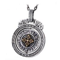 China Sterling 925 Silver Vintage Buddhism Blessings Charm Pendant Necklace for Women Men (060396) on sale