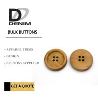 Buy cheap 4 Holes Nature Wooden Buttons With Personalized Logo Raised Edge Light Weight from wholesalers