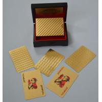Best 0.3mm 24k gold playing cards poker plated mahogany box certificate of authenticity wholesale
