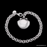 Exquisite Stylish Seashell Charms Silver Plated Metal Clasps For Bracelets