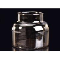 Best Machine Decorative Glass Candle Holder , Brown Smoking Grey Glass Candle Jars Container wholesale