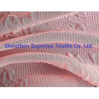 Best 50D 75D Polyester Chiffon Fabric Pink Color Embossed Flowers Women'S Clothing Fabric wholesale