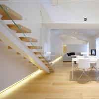 Cheap Modern Design Straight Glass Staircase with Solid Oak Staircase for sale
