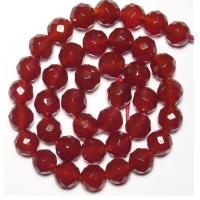 Cheap Wholesale Gemstone Beads, Faceted Round Carnelian Agate Beads, Semi Precious Gem Beads for sale