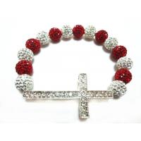 Cheap Multicolor Handmade Crystal Rhinestone Beaded Sideways Cross Bracelet OEM for sale
