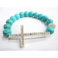 Cheap Blue Handmade Turquoise Beaded Sideways Cross Bracelet Jewellery Charm for sale