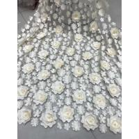 Best 3D Embroidered Flower Beaded Wedding Gown Lace Fabric Anti-static Fashion wholesale