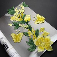 Best Yellow Flower Sew On Embroidered Patches Lace Appliques For Clothing 14 X 32 CM wholesale