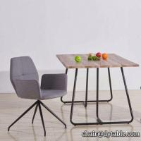 Best dining table mdf cover with oak PU PAPER; metal legs stainless steel wholesale