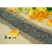 Cheap Shining Blue Cord Embroidered Bridal Trim By The Yard With Sequins for sale