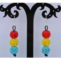 Best Handmade Beaded Jewelry Mixed Color Round Crystal Shamballa Clay Earrings wholesale