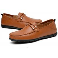 Best Moccasin Toe Top Loafer Slip On Shoes Grain Leather Upper With Leather Knot Buckle wholesale