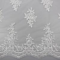 Best Floral Embroidery Eyelash Corded Lace Fabric For Bridal Wedding Dresses wholesale