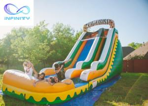 Best Commercial High Quality Giant Adults N Kids Yellow Inflatable Jungle Water Slides With Pool wholesale
